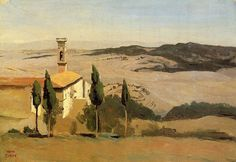 Camille Corot, Volterra, Church with bell tower, 1834