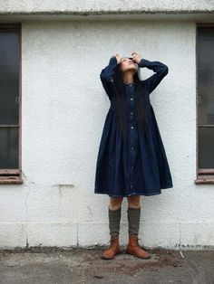 """75Clothes 2012S/S Collection * """"Denim Gather Dress"""". Clothes which """"Satsuki"""" of """"Small Circle of Friends"""" designs.Photograph Norichika Kitamura. http://www.75clothes.com/"""