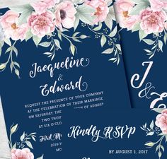 An air of romance! Navy and blush pink wedding invitation by Posh Paper.