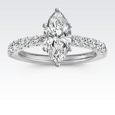 Diamond Engagement Ring with Pavé Setting with Marquise Diamond