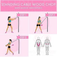 Standing Cable Wood Chop Main muscle: abdominals - Starting position: Attach a standard handle on a high pulley. Stand with your side to the machine and step as far away as you need to extend your arms. (grab the handle with both hands) Now pull the handl Cable Machine Workout, Workout Machines, Cable Ab Exercises, Gym Machine Workouts, Smith Machine Workout, Wood Chop Exercise, Cable Abs, Fun Workouts, Health Fitness