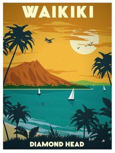 vintage travel poster - I love the color scheme Hawaii Vintage, Vintage Surf, Vintage Hawaiian, Image Deco, Hawaiian Art, Into The Fire, Travel Illustration, Vintage Travel Posters, Grafik Design