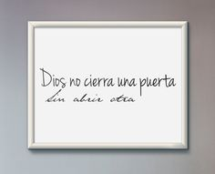 Dios no cierra una puerta sin abrir otra Printed Wall Art spanish christian religious home decor poster español pared arte decoracion by JeanHomePrint on Etsy