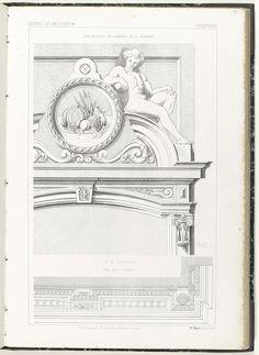 Anonymous | Kroonlijst van schoorsteenmantel met plan, Anonymous, Etablissement Lithographique De Charles Claesen, c. 1866 - c. 1900 | Kroonlijst met bovenaan een stilleven van fruit in een medaillon. Linksboven staat: Motifs de decoration, rechtsboven: Sculpture, rechtsonder: N° 21 C.