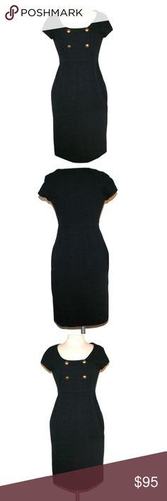 "Diane Von Furstenberg Ponte Office Dress Like-new condition.  Worn once.  DVF ""Charo"" dress. Black, heavy-weight ponte knit fabric. Brass antique bronze buttons on bodice. Super flattering neckline with short sleeves. Hidden, side-seam pockets. Pleating at the waist.  71% viscose 23% polyamide 6% elastane  Size 2 Bust 34"" Waist 26"" Hips 36"" Length 37"" Diane von Furstenberg Dresses"