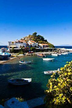 Greece, Kokkari village a fishing harbour of Samos island Mykonos, Santorini, Samos, Corfu, Beautiful Places In The World, Places Around The World, Around The Worlds, Dream Vacations, Vacation Spots