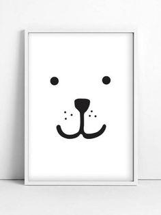 Nursery Illustration - Animal Print - teddy black, kids decor Print Size: 21 x 30 cm x inches Frame not included Bear Nursery, Animal Nursery, Nursery Art, White Nursery, Boy Room, Kids Room, Deco Kids, Beer Poster, Animal Faces