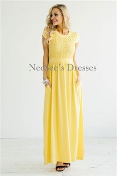 Modest yellow dress with sleeves
