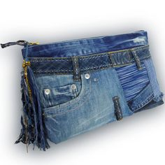 Etsy の Recycled Old Jeans & Hand-dyed Indigo Fabric / by Kazuenxx