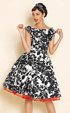 TS VINTAGE Print Swing Dress With Petticoat