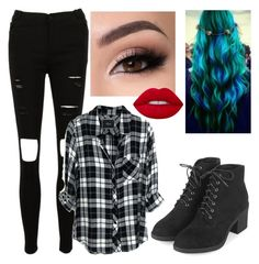 """""""Set 246."""" by lamsdell ❤ liked on Polyvore featuring Keratin Complex, Rails, Topshop and Lime Crime"""