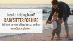 Need a helping hand? Babysitter for hire. Full time services offered at per hour. Cute background of father and son at the beach. Beach Video, Cute Backgrounds, Helping Hands, Father And Son, Ads, Templates, Pretty Backgrounds, Daddy And Son, Stencils