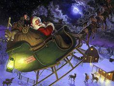 """""""Christmas Eve, Santa Claus on Sleigh"""" - art by Tom Newsom"""