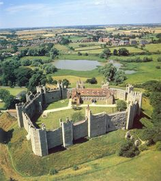Framlingham Castle, Suffolk, England. Henry VIII's daughter Mary sheltered at Framlingham during the attempt, in 1553 to put Lady Jane Grey on the throne. Later, as Queen Mary she visited the castle with her husband King Philip of Spain