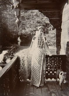 Crownprincess Marie of Romania in a traditional romanian costume. Mids 1890s.