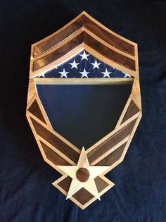 Handcrafted Air Force Shadow Box with Rank Chevron the
