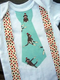 Blue Sock Monkey Tie with Polkadot Suspender Onesie or Tshirt. $20.00, via Etsy.