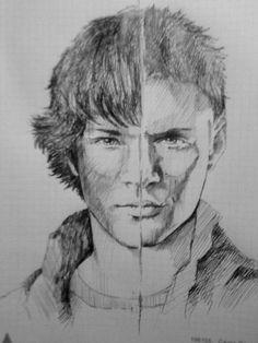 sam dean Supernatural Drawings, Supernatural Fan Art, Jared Padalecki, Destiel, Funny Phone Wallpaper, Disney Fan Art, Easy Drawings, Art Sketches, Cool Art