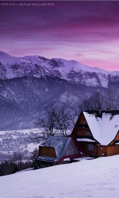 A beautiful sunset from Gubałówka mountain situated above the Polish town of Zakopane. Magnificent views of the Tatra mountains can also be seen from Gubałówka across the valley below.