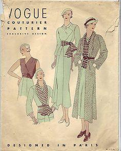 Beautiful Vintage Vogue 30's Couturier Exclusive Paris Design Ensemble Pattern