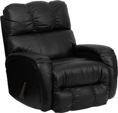 Bentley Black Leather Chaise Rocker Recliner