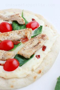 Mini Chicken Alfredo Pizza - Harmons Blogger   One Sweet Appetite