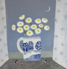Daisies on the Windowsill, Jill Leman Illustration Blume, Botanical Illustration, Art Beat, Fabric Pictures, Still Life Art, Arte Floral, Naive Art, Floral Illustrations, Simple Art