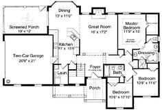 One Story Bungalow Floor Plans | First Floor Plan of Bungalow Ranch House Plan 97760