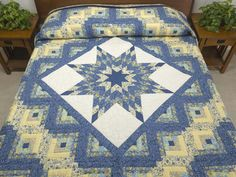 Lone Star Log Cabin Quilt -- magnificent carefully made Amish Quilts from Lancaster (hs6294)