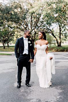 black tie wedding at cypress grove estate house in Orlando Florida | groom black suit coattails | black bride | kleinfleld bridal |