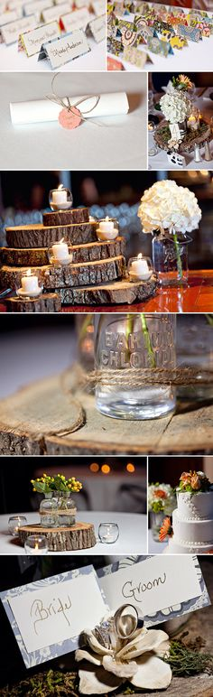 Rustic yet elegant yet classy..... Perfect wedding theme for the girl who loves cabin chic :)