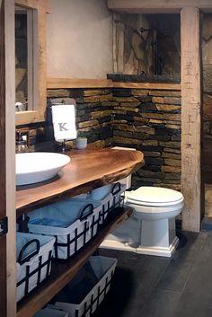 Spalted Oak Ashlar & Ledgestone interior stone veneer brings rustic shadow & honey real stone color tones to this stone home. Buy stone veneer by Buechel! Home Design, Flur Design, Design Ideas, Cabin Bathrooms, Basement Bathroom, Rustic Cabin Bathroom, Bathroom Beadboard, Bathroom Cabinets, Modern Bathroom
