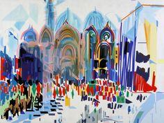 Nadir Afonso, Procissão em Veneza, 97 x 125 cm © Nadir Afonso Art And Illustration, Abstract Shapes, Abstract Art, Nadir Afonso, Digital Art Gallery, Sculpture Painting, Gustav Klimt, Paint Designs, Canvas