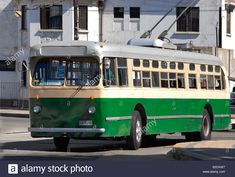 Image of a local vintage trolley bus in Valparaiso Chile Stock Photo