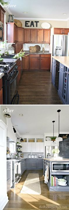 How to Paint Oak Cabinets and Hide the Grain | White paints ... Updating Kitchen Cabinets Ideas W E A on