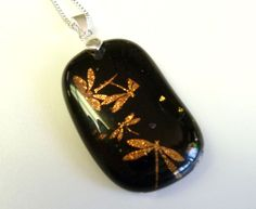 Golden Dragonfly  Fused Glass  Pendant by ArtBoxDesign on Etsy, $25.00