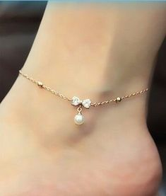Jewellery Mini Trinkets Gold Toned Cubic Zirconia Butterfly Daisy Charm Chain Anklet With Bell