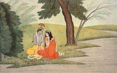 "Kangra Paintings - Gita-Govinda - Plate 14 ""Arrange my tresses, O beloved Krishna, round my temples. These are purer than the lotus blossom. Atlantis, Mughal Miniature Paintings, Lord Krishna Images, Krishna Pictures, Oriental, Krishna Art, Krishna Leela, Religious Paintings, Madhubani Painting"
