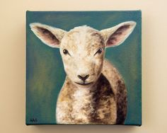 Original Lamb Painting by HeatherAnnOrlando on Etsy, $100.00 #art #oil #painting #lamb #farm #baby animal