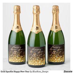 Gold Sparkle Happy New Year Champagne Label Custom Wine Bottles, Wine Bottle Labels, Champagne Label, Champagne Bottles, Personalized Wine Labels, Wedding Reception, Elegant Wedding, Wedding Decor, Rustic Wedding