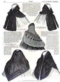 1861 Civil War period outerwear for fashionable ladies :) Der Bazar, German Magazine. books.google.com/...