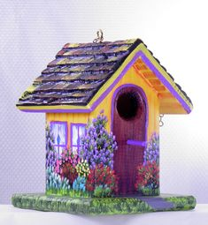 Yellow and Purple Birdhouse with Pick up in Garage , Handcrafted , Hand Painted , Eco Friendly