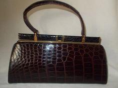 Stunning rare vintage Lesco black and brown crocodile handbag by VintageHandbagDreams on Etsy