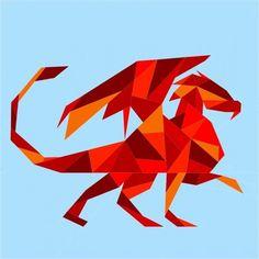 Geometric Dragon Paper Pieced Pattern