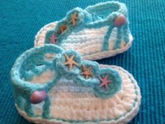 Infant Crochet Sandals, Baby Sandals, Jeweled Sandals, Embellished Sandals. $18.00, via Etsy.