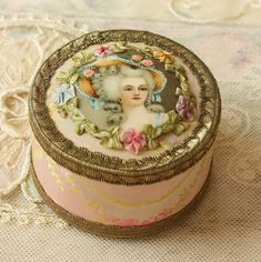 Exquisite French Powder Box Antique Ribbon Work, Silk, Metallic Trim
