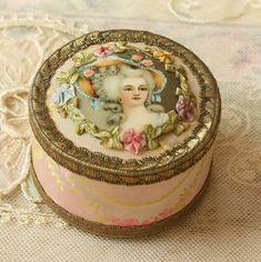 Exquisite French Powder Box Antique Ribbon Work, Silk, Metallic Trim