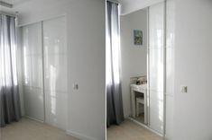 Кухня 5,7 кв.м с раздвижной дверью - двери Лакобель на направляющих по типу шкафа-купе
