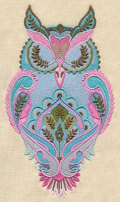 Full Moon Owl machine embroidery design by Tula Pink