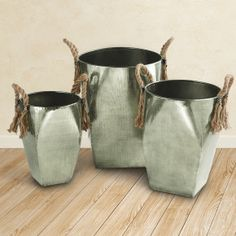 Jute Handled Nesting Iron Baskets - Set of 3